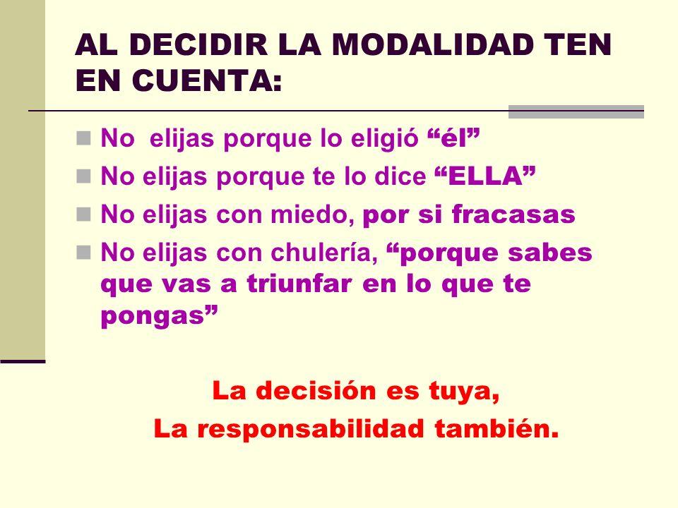 AL DECIDIR LA MODALIDAD TEN EN CUENTA: