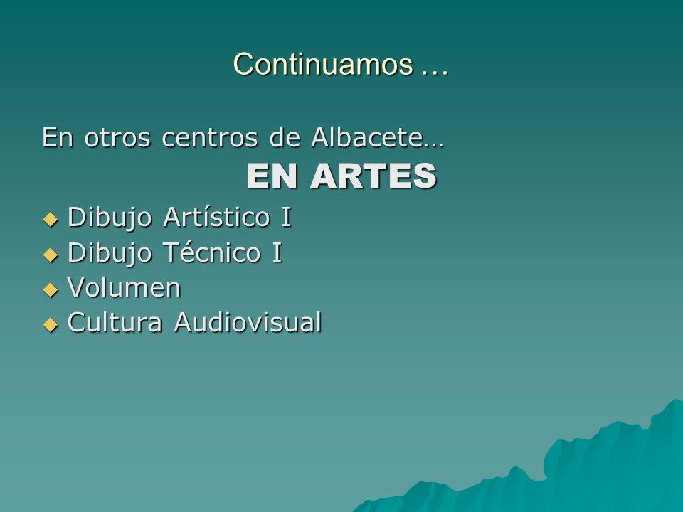 EN ARTES Continuamos … En otros centros de Albacete…