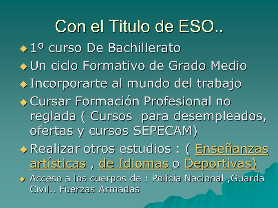 Con el Titulo de ESO.. 1º curso De Bachillerato