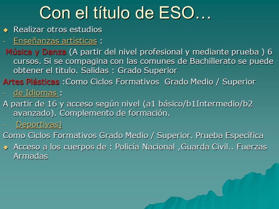Con el título de ESO… Realizar otros estudios Enseñanzas artísticas :