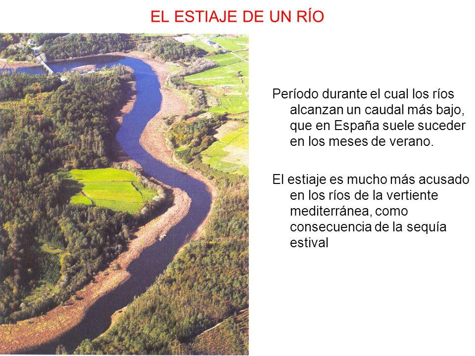 EL ESTIAJE DE UN RÍO Período durante el cual los ríos alcanzan un caudal más bajo, que en España suele suceder en los meses de verano.