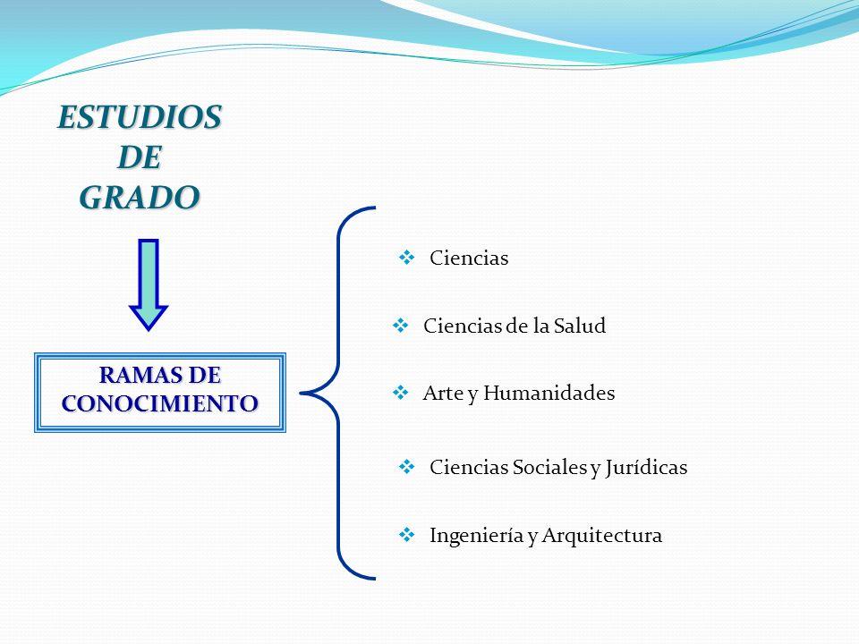 ESTUDIOS DE GRADO RAMAS DE CONOCIMIENTO Ciencias Ciencias de la Salud