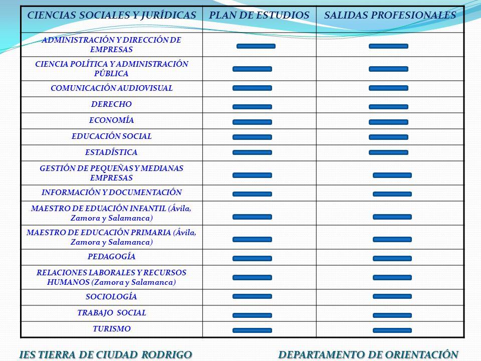 CIENCIAS SOCIALES Y JURÍDICAS PLAN DE ESTUDIOS SALIDAS PROFESIONALES