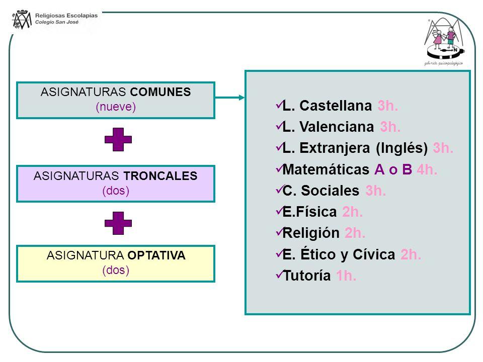 L. Extranjera (Inglés) 3h. Matemáticas A o B 4h. C. Sociales 3h.