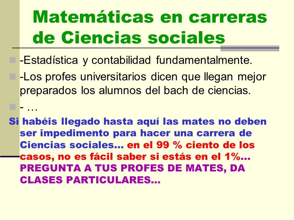 Matemáticas en carreras de Ciencias sociales