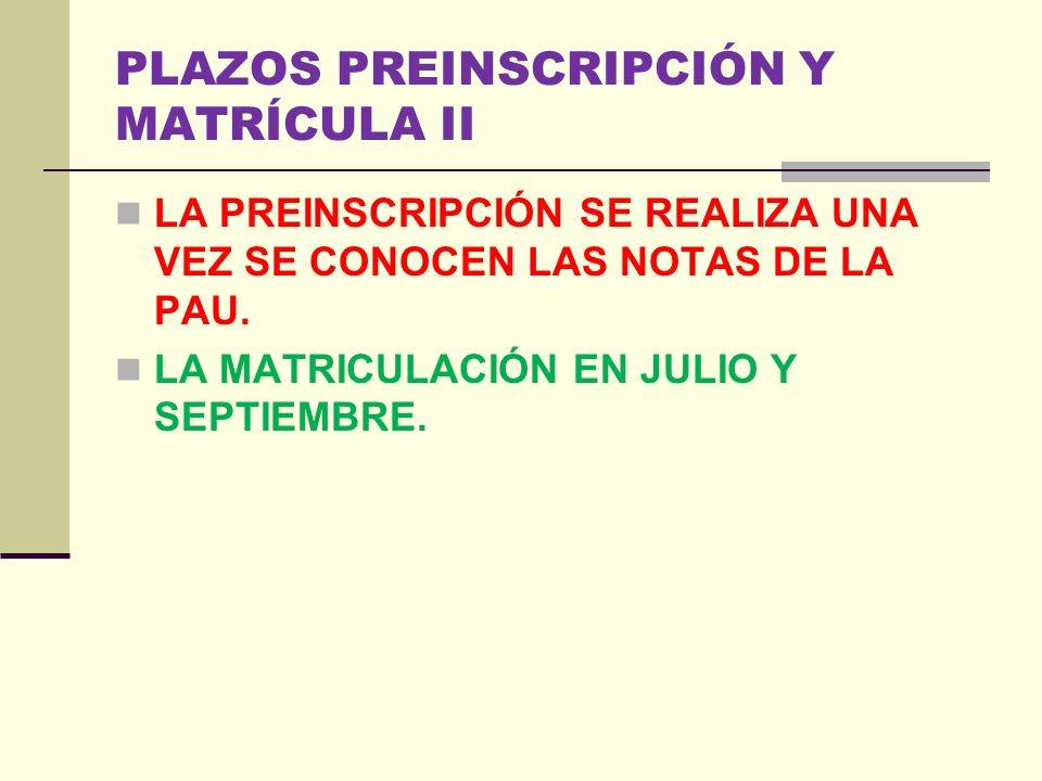 PLAZOS PREINSCRIPCIÓN Y MATRÍCULA II