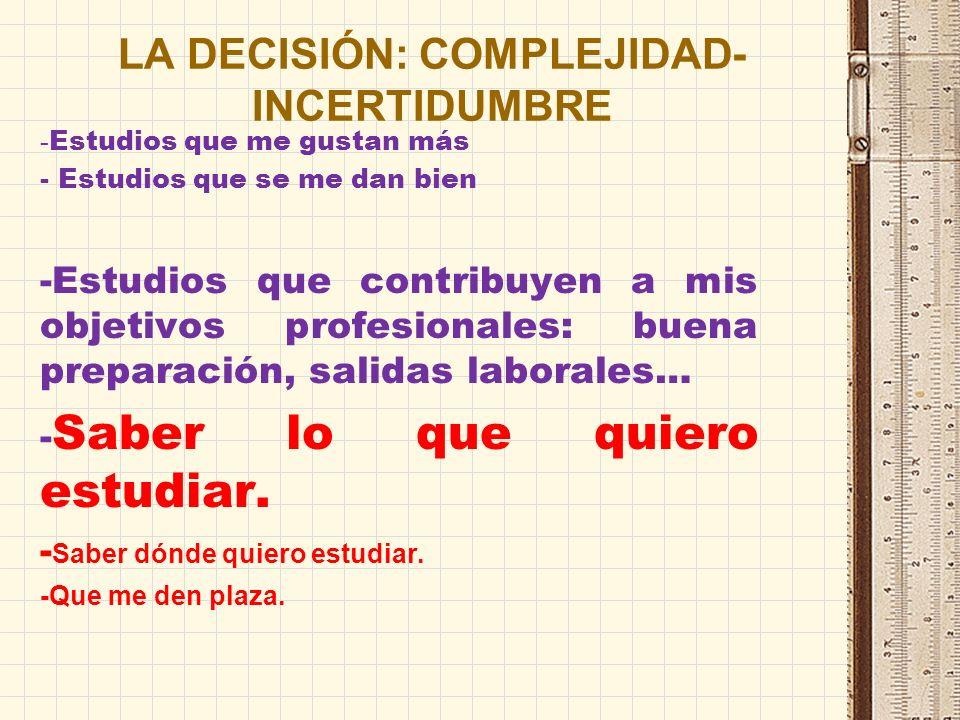LA DECISIÓN: COMPLEJIDAD-INCERTIDUMBRE