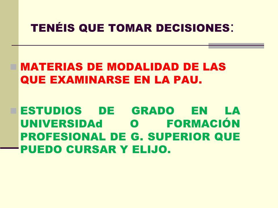 TENÉIS QUE TOMAR DECISIONES:
