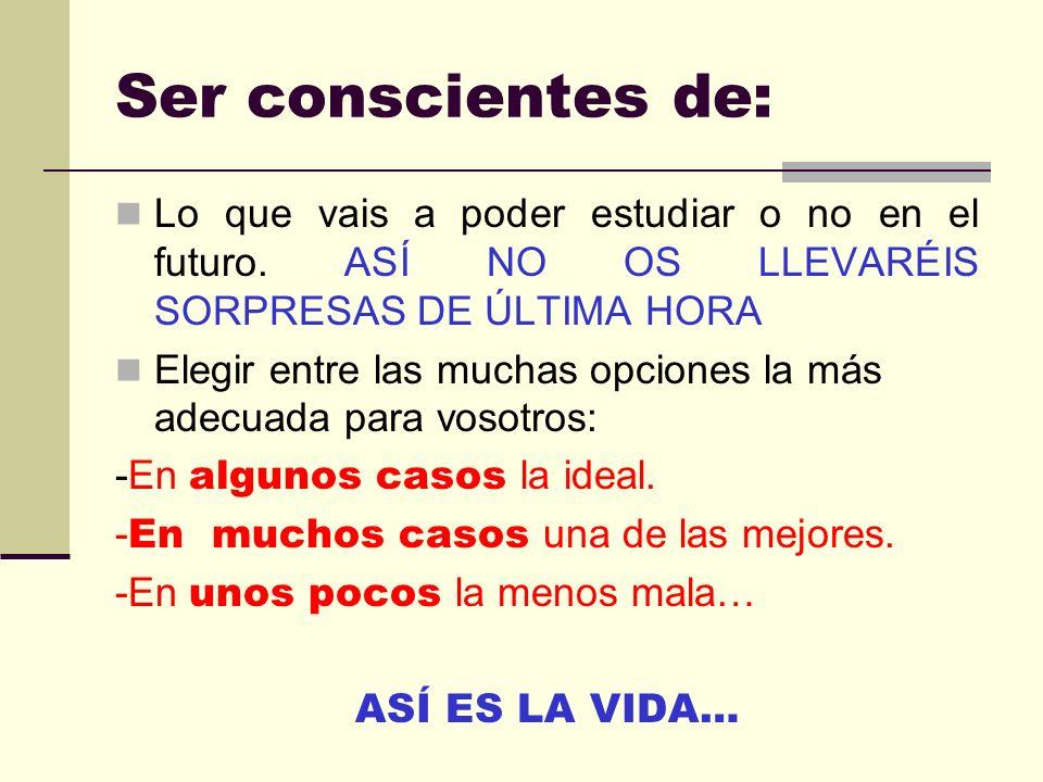 Ser conscientes de: Lo que vais a poder estudiar o no en el futuro. ASÍ NO OS LLEVARÉIS SORPRESAS DE ÚLTIMA HORA.