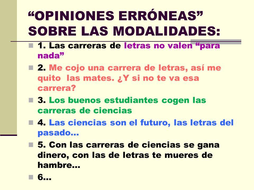 OPINIONES ERRÓNEAS SOBRE LAS MODALIDADES:
