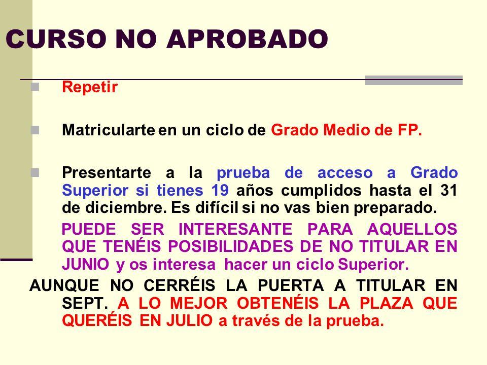 CURSO NO APROBADO Repetir
