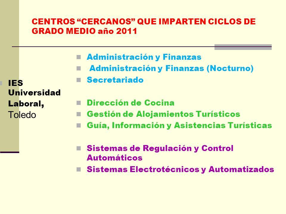 CENTROS CERCANOS QUE IMPARTEN CICLOS DE GRADO MEDIO año 2011