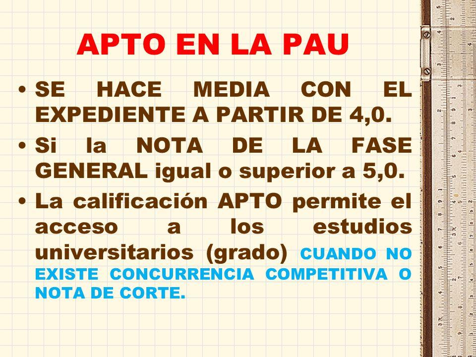 APTO EN LA PAU SE HACE MEDIA CON EL EXPEDIENTE A PARTIR DE 4,0.