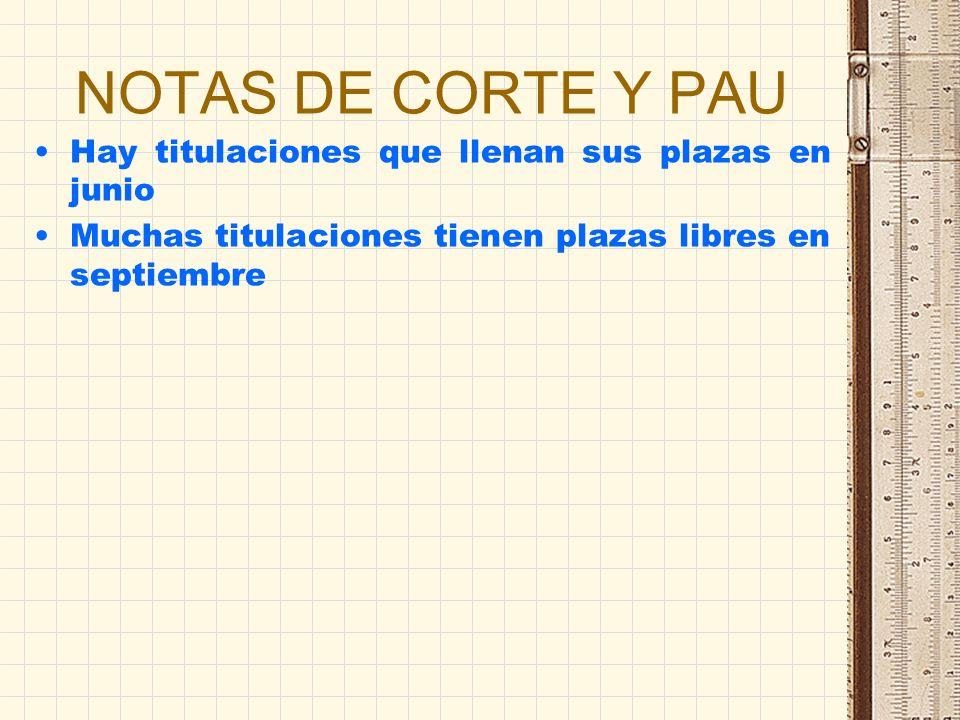 NOTAS DE CORTE Y PAU Hay titulaciones que llenan sus plazas en junio