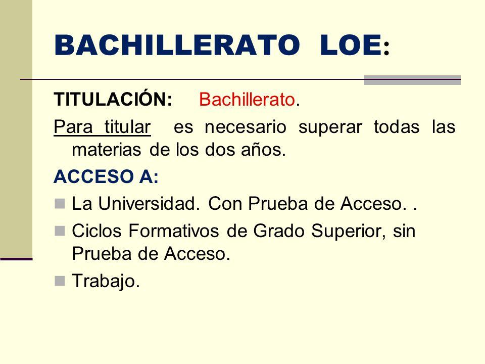 BACHILLERATO LOE: TITULACIÓN: Bachillerato.