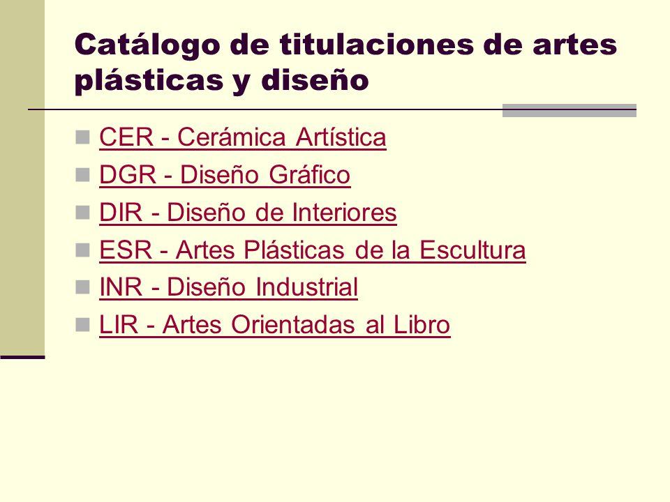 Catálogo de titulaciones de artes plásticas y diseño