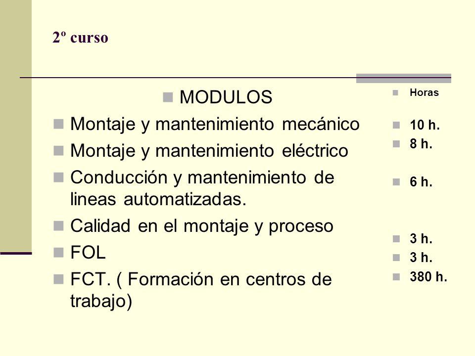Montaje y mantenimiento mecánico Montaje y mantenimiento eléctrico
