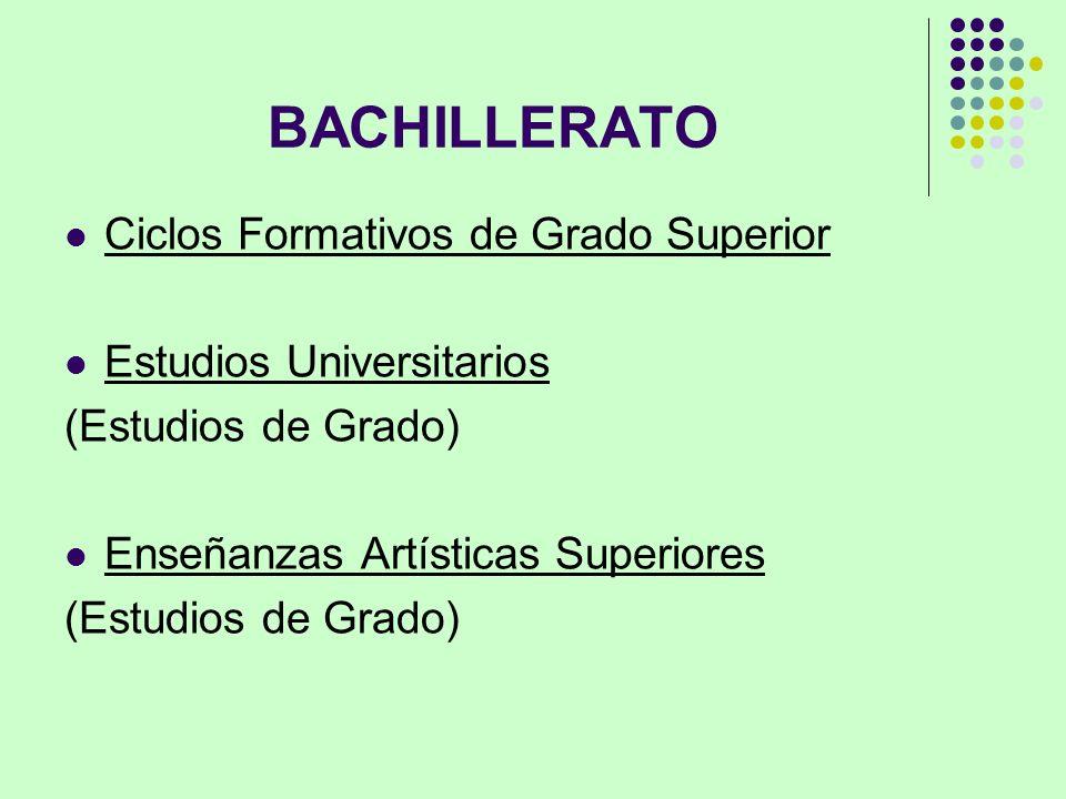 BACHILLERATO Ciclos Formativos de Grado Superior