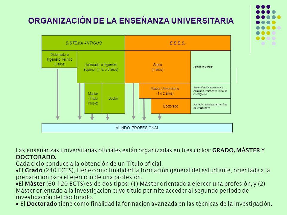 ORGANIZACIÓN DE LA ENSEÑANZA UNIVERSITARIA