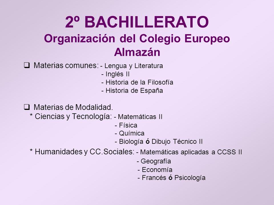 2º BACHILLERATO Organización del Colegio Europeo Almazán