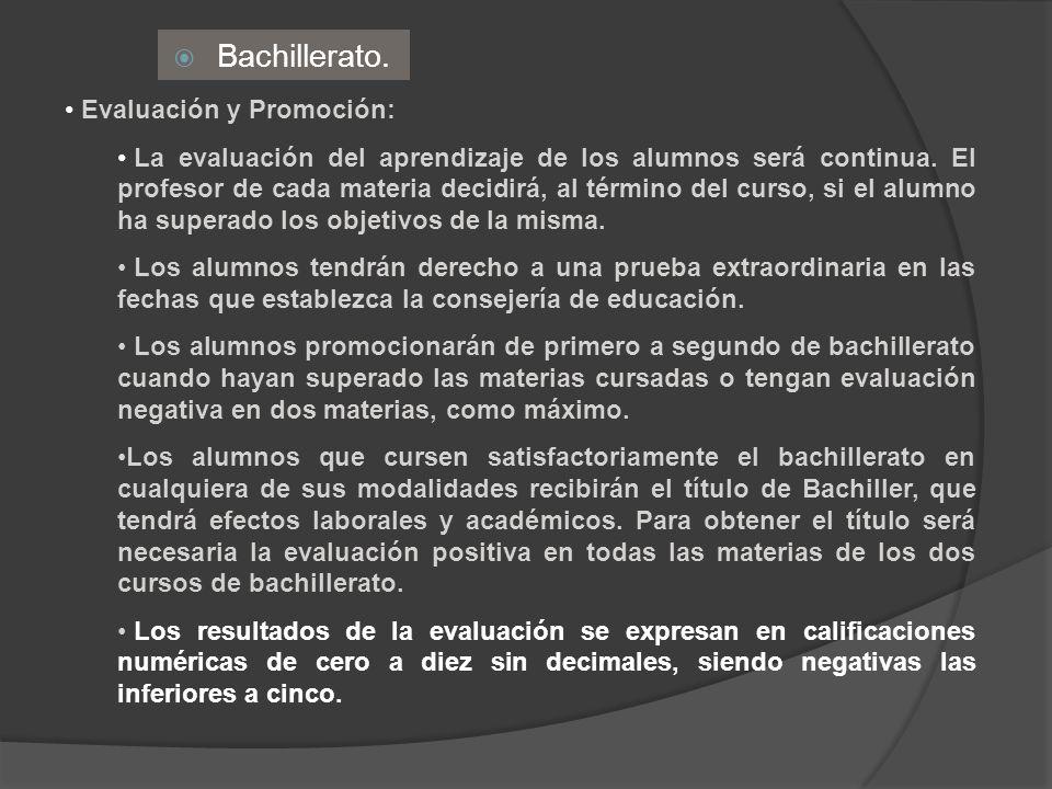 Bachillerato. Evaluación y Promoción: