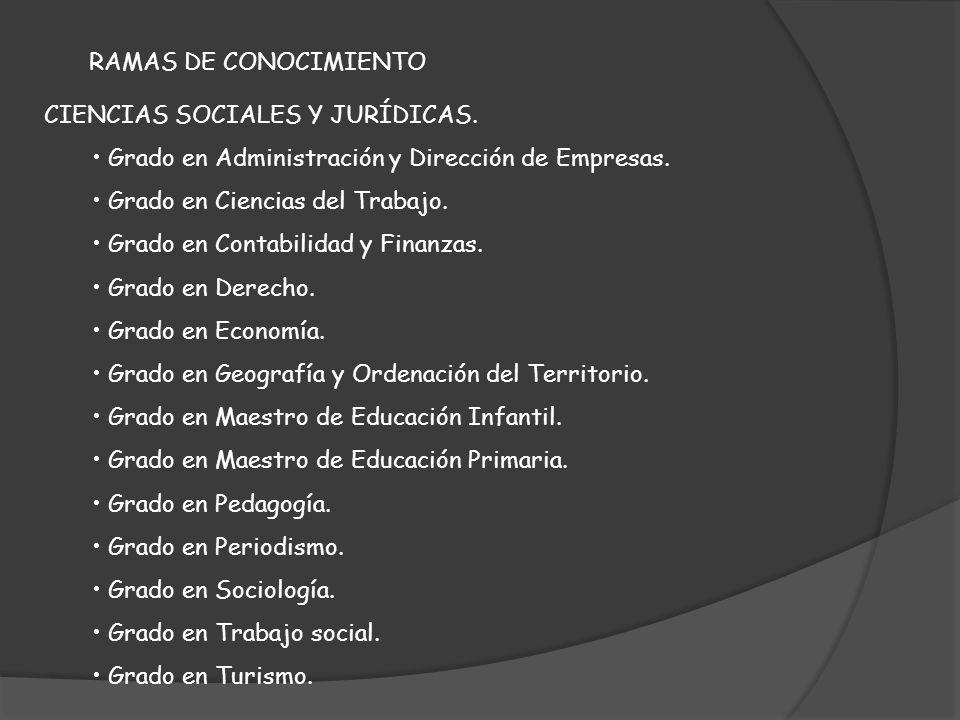 RAMAS DE CONOCIMIENTO CIENCIAS SOCIALES Y JURÍDICAS. Grado en Administración y Dirección de Empresas.