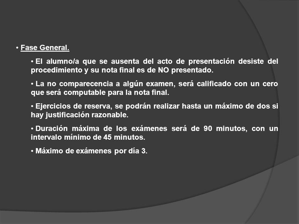 Fase General. El alumno/a que se ausenta del acto de presentación desiste del procedimiento y su nota final es de NO presentado.