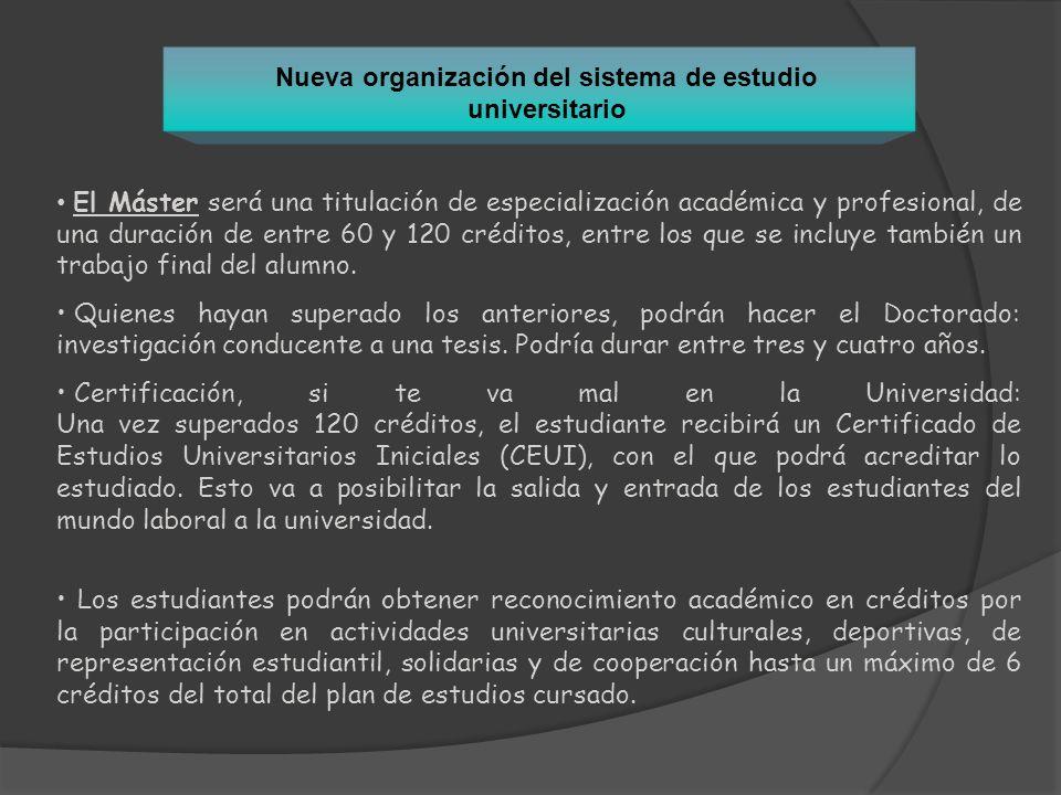 Nueva organización del sistema de estudio universitario