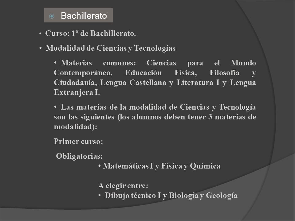 Bachillerato Modalidad de Ciencias y Tecnologías