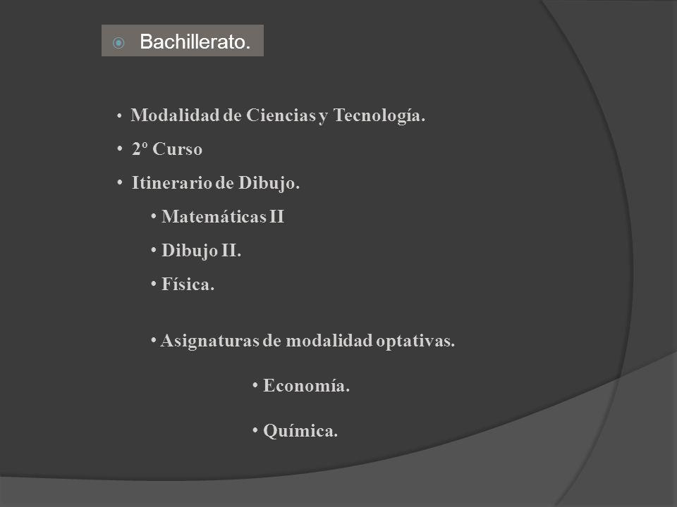Bachillerato. 2º Curso Itinerario de Dibujo. Matemáticas II Dibujo II.