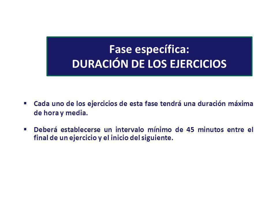 Fase específica: DURACIÓN DE LOS EJERCICIOS