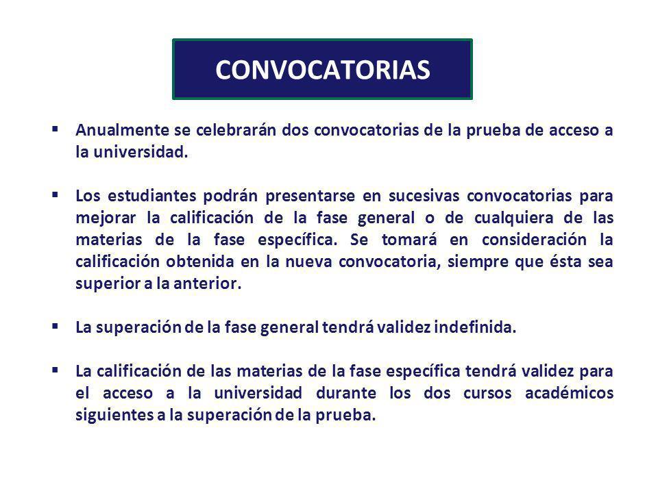 CONVOCATORIAS Anualmente se celebrarán dos convocatorias de la prueba de acceso a la universidad.