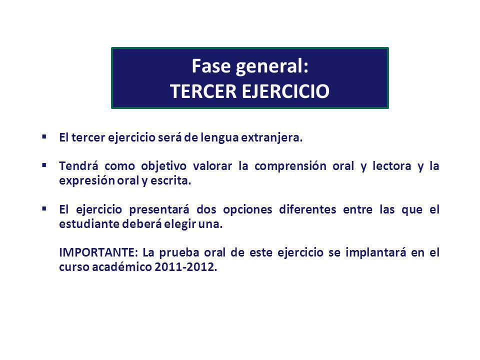 Fase general: TERCER EJERCICIO