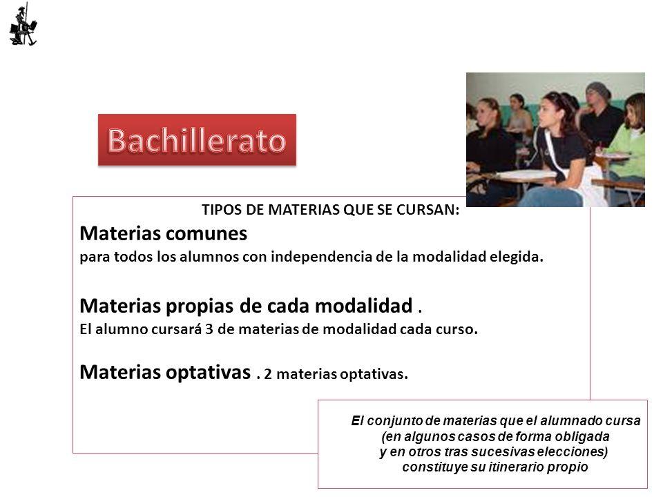 Bachillerato Materias comunes Materias propias de cada modalidad .