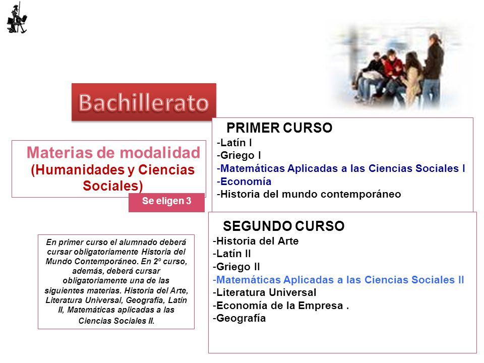 Materias de modalidad (Humanidades y Ciencias Sociales)