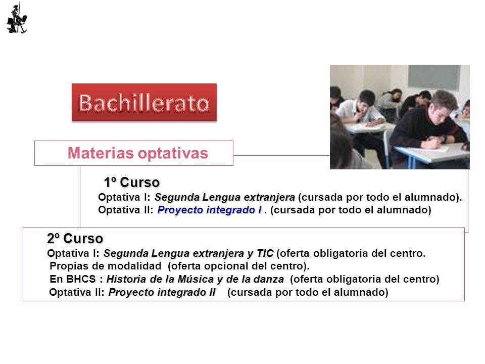 Bachillerato Materias optativas 1º Curso 2º Curso