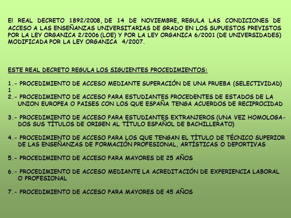 El REAL DECRETO 1892/2008, DE 14 DE NOVIEMBRE, REGULA LAS CONDICIONES DE