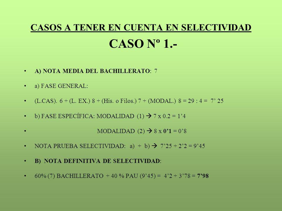 CASOS A TENER EN CUENTA EN SELECTIVIDAD CASO Nº 1.-