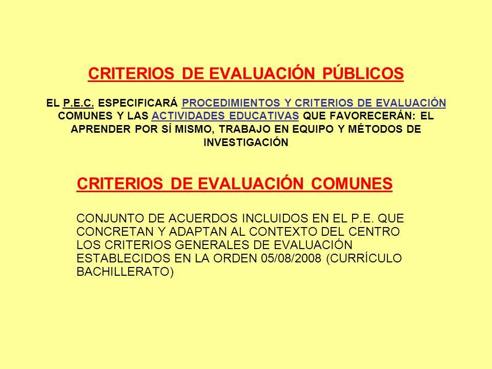 CRITERIOS DE EVALUACIÓN COMUNES