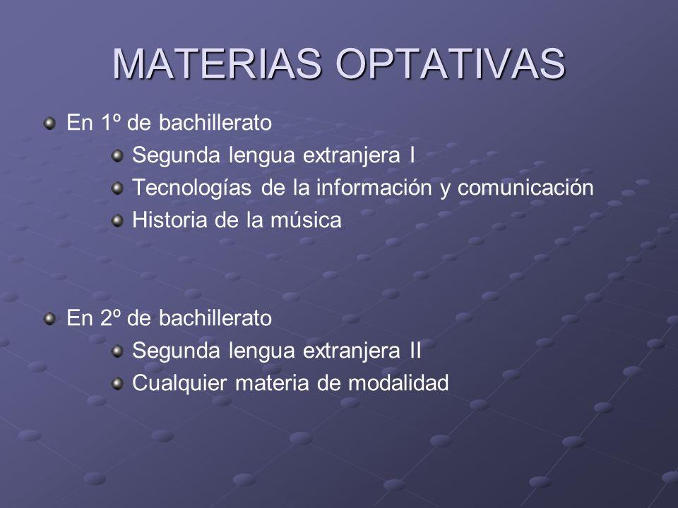 MATERIAS OPTATIVAS En 1º de bachillerato Segunda lengua extranjera I