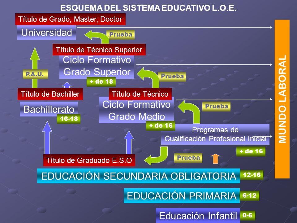 ESQUEMA DEL SISTEMA EDUCATIVO L.O.E.