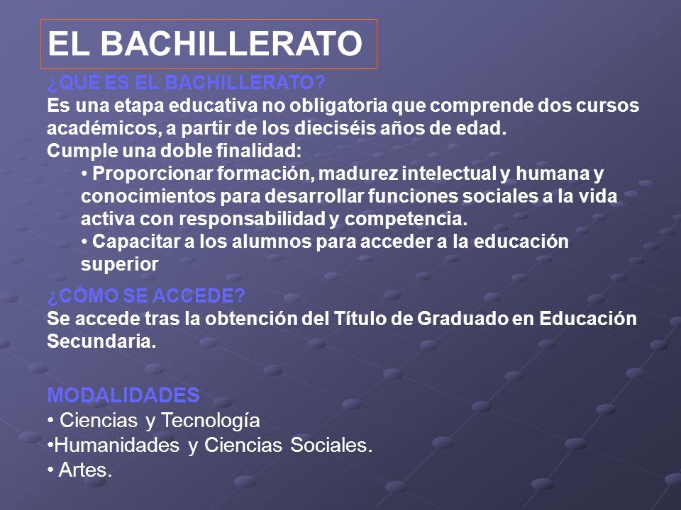 EL BACHILLERATO MODALIDADES • Ciencias y Tecnología