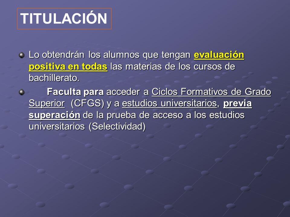 TITULACIÓNLo obtendrán los alumnos que tengan evaluación positiva en todas las materias de los cursos de bachillerato.