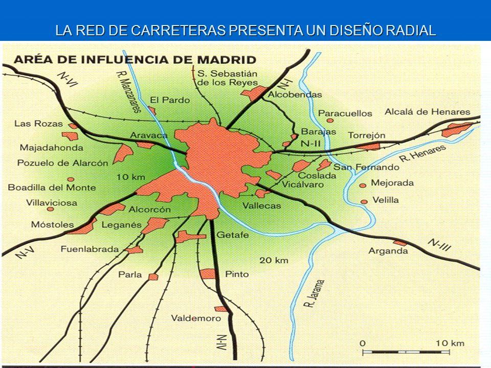 LA RED DE CARRETERAS PRESENTA UN DISEÑO RADIAL