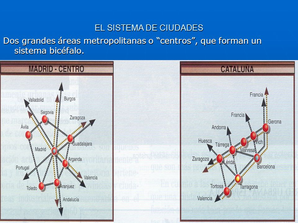 EL SISTEMA DE CIUDADES Dos grandes áreas metropolitanas o centros , que forman un sistema bicéfalo.