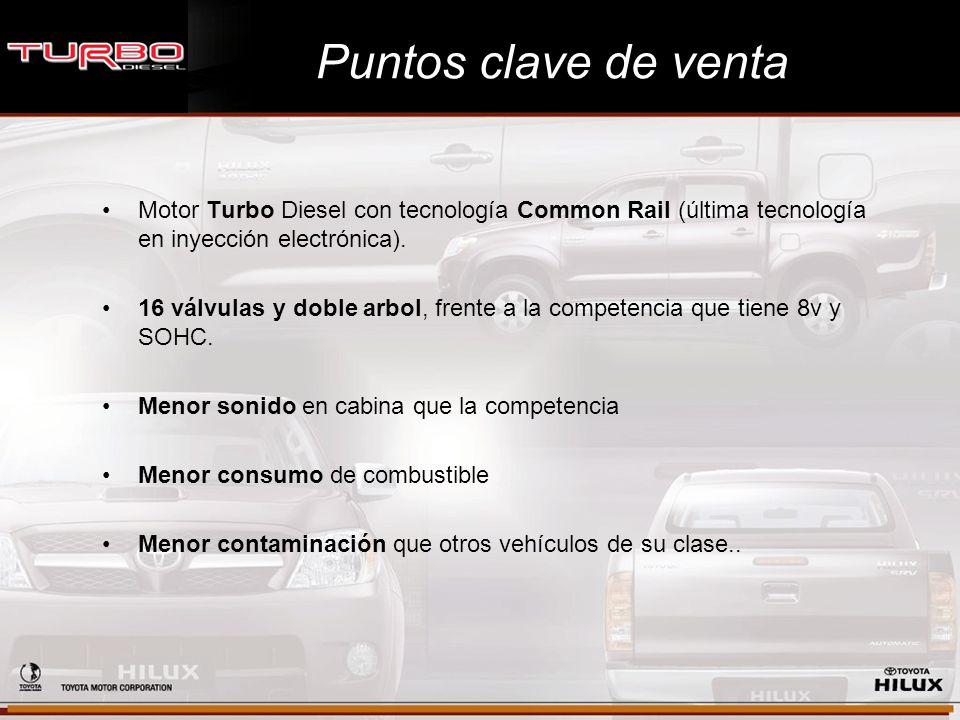 Puntos clave de venta Motor Turbo Diesel con tecnología Common Rail (última tecnología en inyección electrónica).