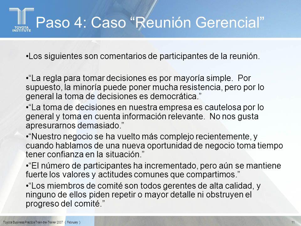 Paso 4: Caso Reunión Gerencial