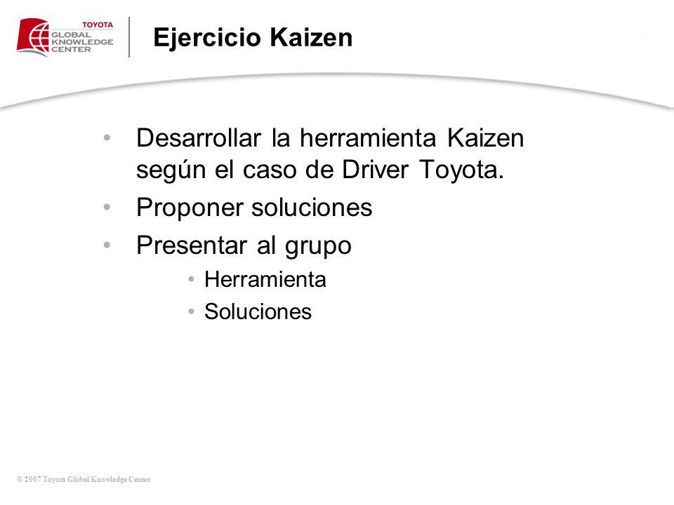 Desarrollar la herramienta Kaizen según el caso de Driver Toyota.