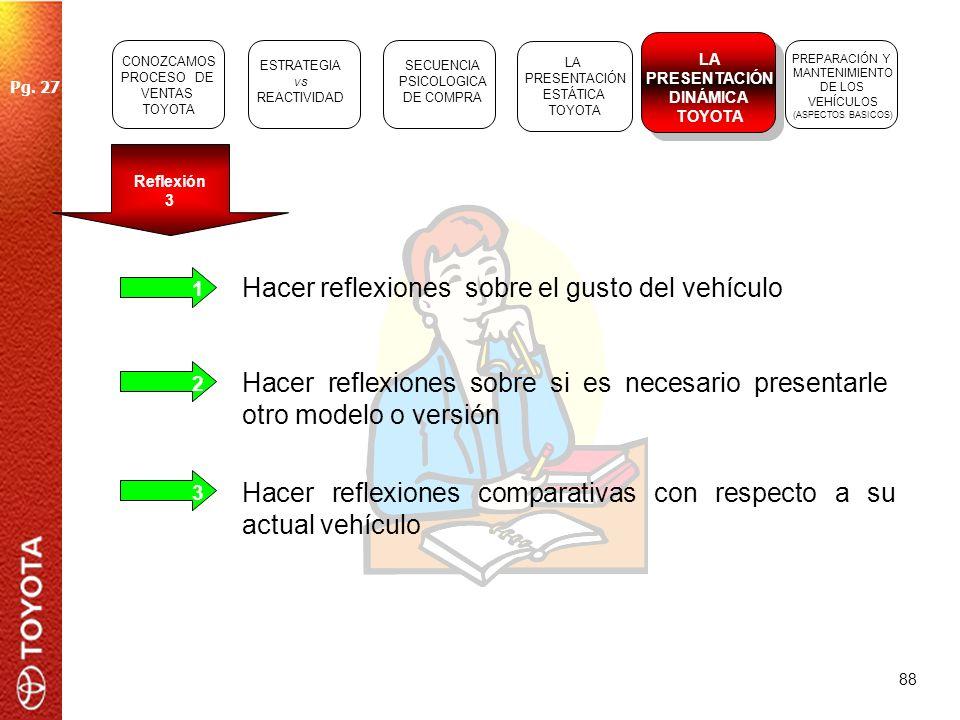 Hacer reflexiones sobre el gusto del vehículo