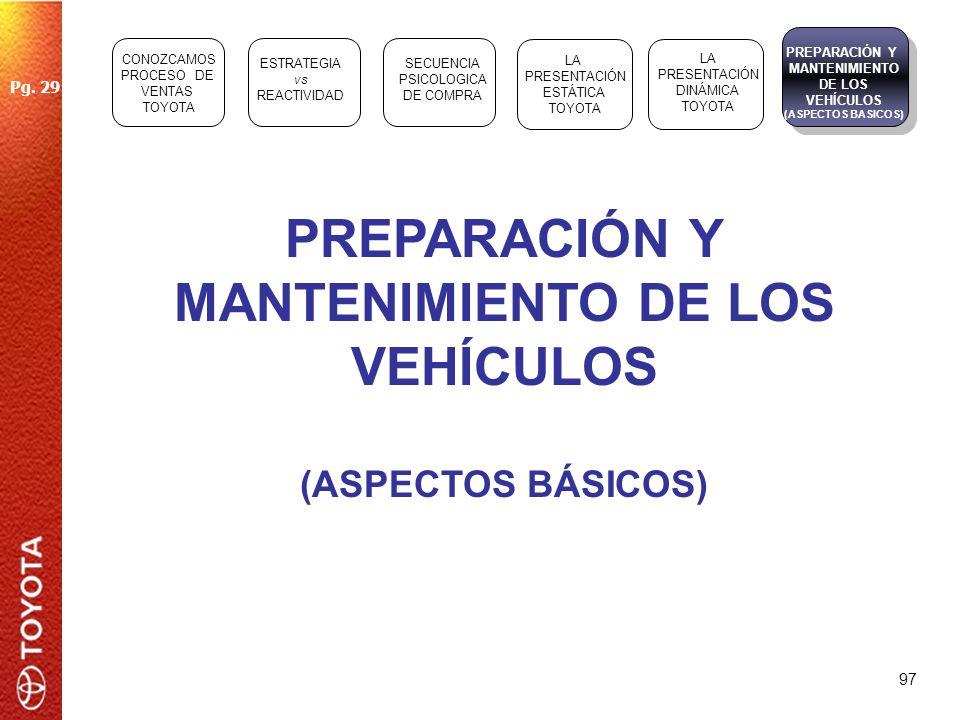 PREPARACIÓN Y MANTENIMIENTO DE LOS VEHÍCULOS